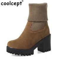 CooLcept Для женщин квадратный каблук круглый носок каблук для отдыха пикантные теплые зимние сапоги на высоком каблуке на платформе эластична...