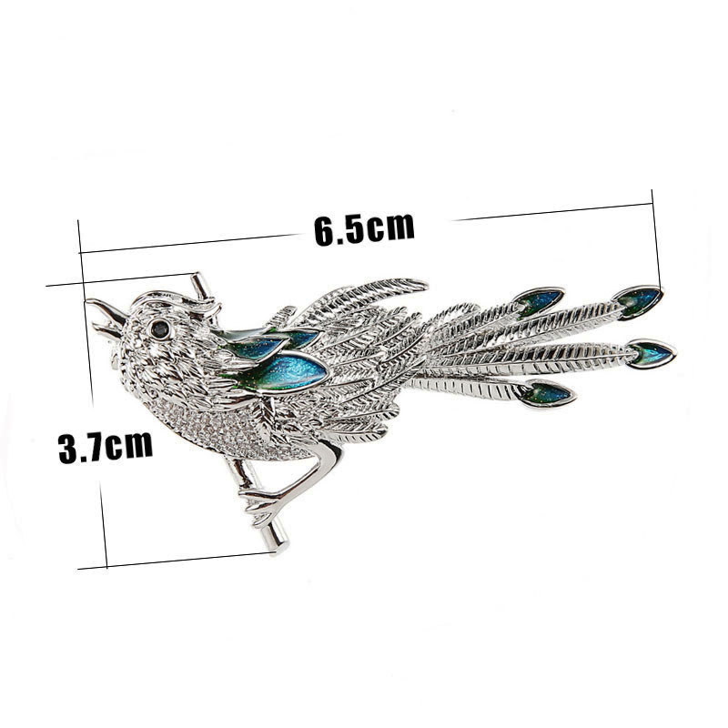 Micro Pave Cute Bird Brooch Silver Plated Metal Austrian Crystal Enamel Animal Pins and Brooches for Women (3)