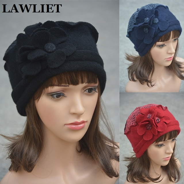 Flower waves trimmed Womens Wool Beanie Cap Dress Crochet  Winter Hat Ladies Warm Beret Hats Church Hats For Female A125