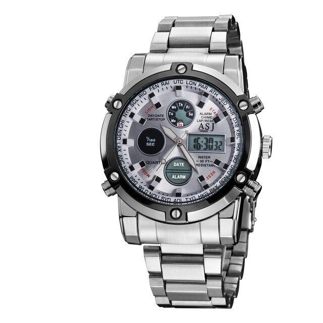 53ccf0ac59f1e9 Marca ASJ Uomini Acciaio Pieno Orologi LED Quarzo Digitale Cronografo 50 m  Impermeabile Dive Sport Orologi