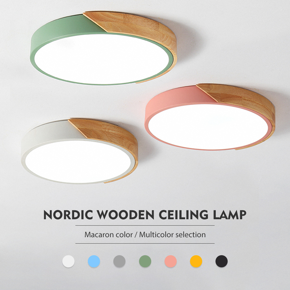 Nordic wooden ceiling lamp Dimmable Led Ceiling Lights Round 30-60 size diameter Ultra-thin 5 cm high 7 colors Iron art macaron