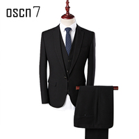 OSCN7 3 Pcs Solid Suit Men Slim Fit Leisure Business Wedding Dress Suits for Men Prom Groom Terno Masculino Plus Size Tuxedo