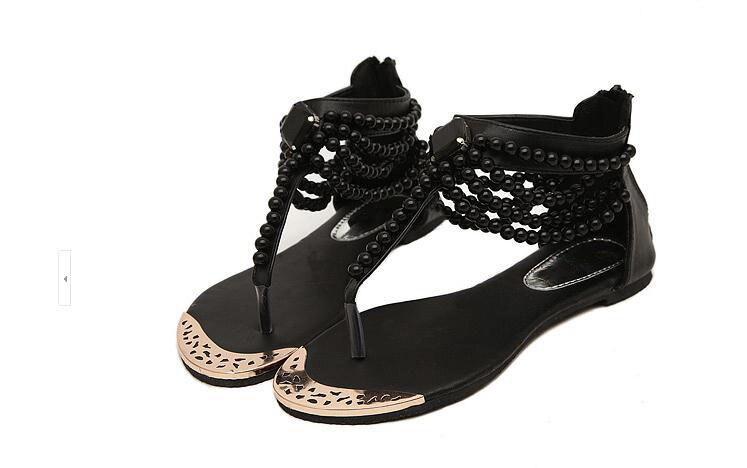 Chaussures Plage De noir Sont Se À Chaîne Kncokar Une pu Bohème La Ciel Sandales Plat Femmes Nouvelle Détendre rouge Et Beige Avec 2018 Sur xwCqwvU