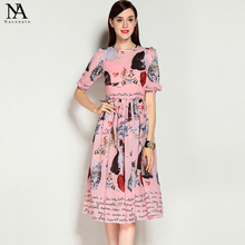 New Arrival 2017 Women's O Neck Short Sleeves Characters Letters Printed Pleated Elegant Runway Dresses