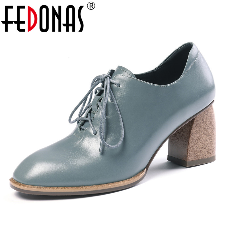 FEDONAS Solid Lace-up Pumps Women Square Toe High Heels Concise Elegant Single Shoes Newest Party Genuine Leather Shoes Woman
