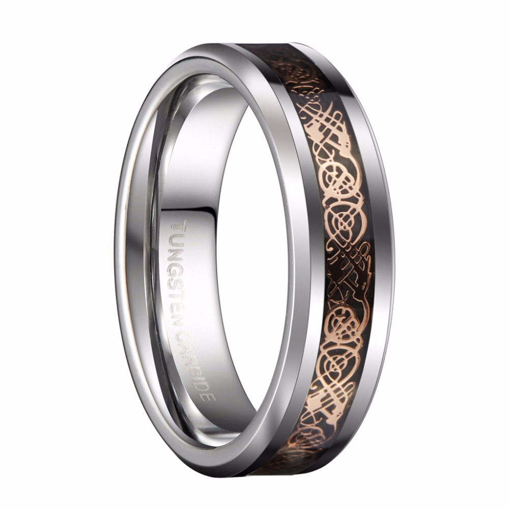 queenwish 6mm white tungsten carbide ring rose gold color celtic dragon couples wedding bands jewelry - Tungsten Carbide Wedding Rings