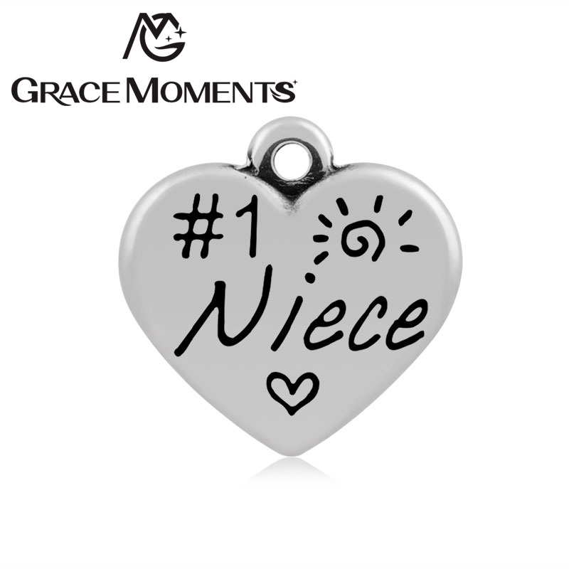 50pcs/lot Top Popular 16*17mm Stainless Steel Heart Shape Charm Stamped #1 Niece DIY Bracelet & Necklace Accessories ...