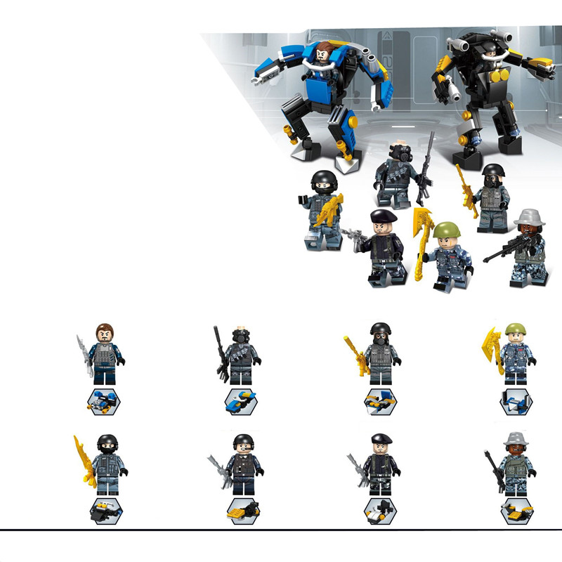 8pcs Soldier MILITARY Golden Weapon SWAT WW2 City Gun Army Navy Seals Team Marine Building Blocks Figures Bricks Toys Boys Gift military city police swat team army soldiers with weapons ww2 building blocks toys for children gift