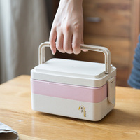 Classic Double layer Bento Box Dinnerware Food Container Set with for Adults Children Dinnerware Set