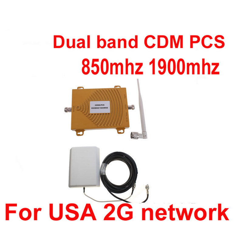 Dual Band Repeater CDMA 800Mhz Booster+PCS 1900 Repeater Dual Band PCS Booster Kits W/ 10M Cable&antennas,dual Band CDMA Booster