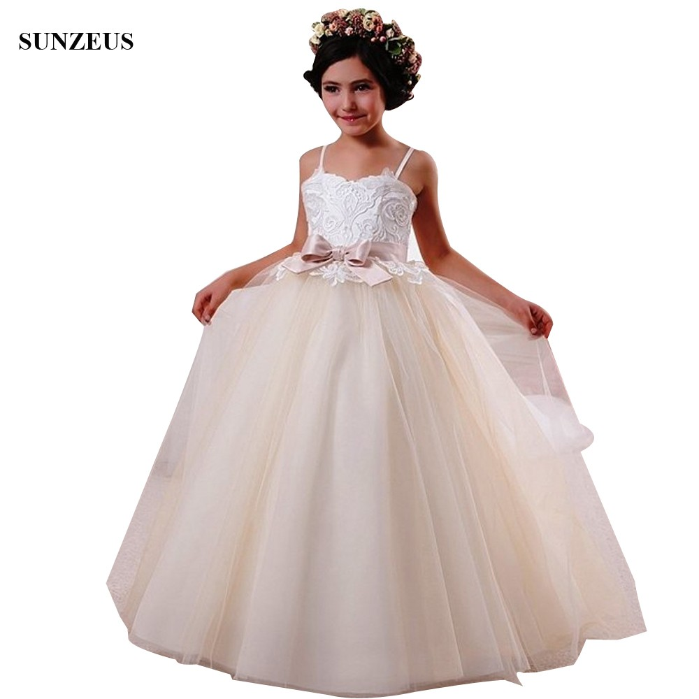 A-line Sweetheart Spaghetti Straps   Flower     Girls     Dresses   Appliques Corset Party Gowns For Wedding Long Tulle frocks FLG108