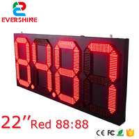 Outdoor Waterproof High Brightness Large LED Temperature and Time clock Sign for 22 inch single red