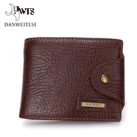 DWTS Crazy Horse Leather Men Wallet Short Vintage Wallet Coin Purse High Quality Brand Design
