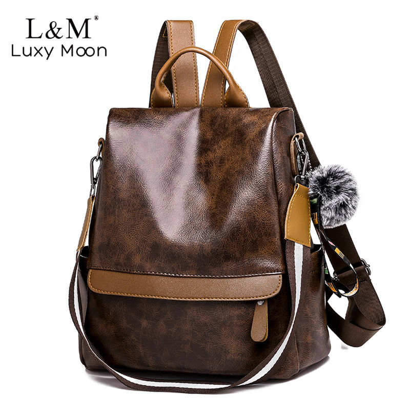 Women Anti-theft Leather Backpack Large Brown Multifunctional School Bag For Teenage Girls Female Travel Backpacks Mochila XA85H
