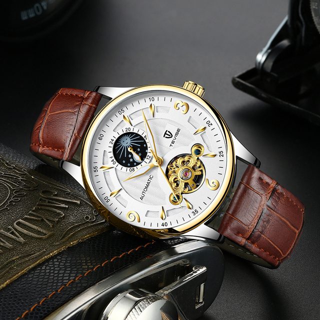 TEVISE Luxury Waterproof Automatic Men Mechanical Watch Moon Phase Luminous Self-Winding Man Casual Wristwatch Leather B