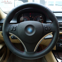BANNIS Hand stitched Black Top Layer Leather Steering Wheel Cover for BMW E90 325i