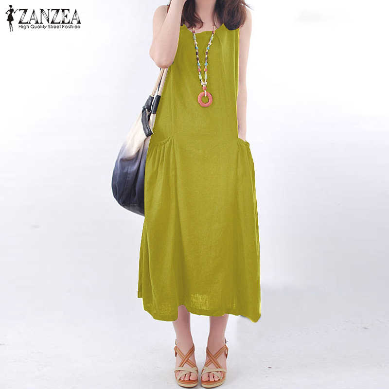 3cf478184f75 ZANZEA 2018 Summer Dress Women Vintage Sleeveless Pockets Casual Loose  Vestido Long Maxi Dress Beach Robe