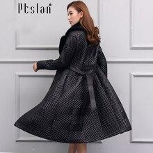Ptslan Women's Genuine Leather Jacket Zipper Closure Real Lambskin Down Coat