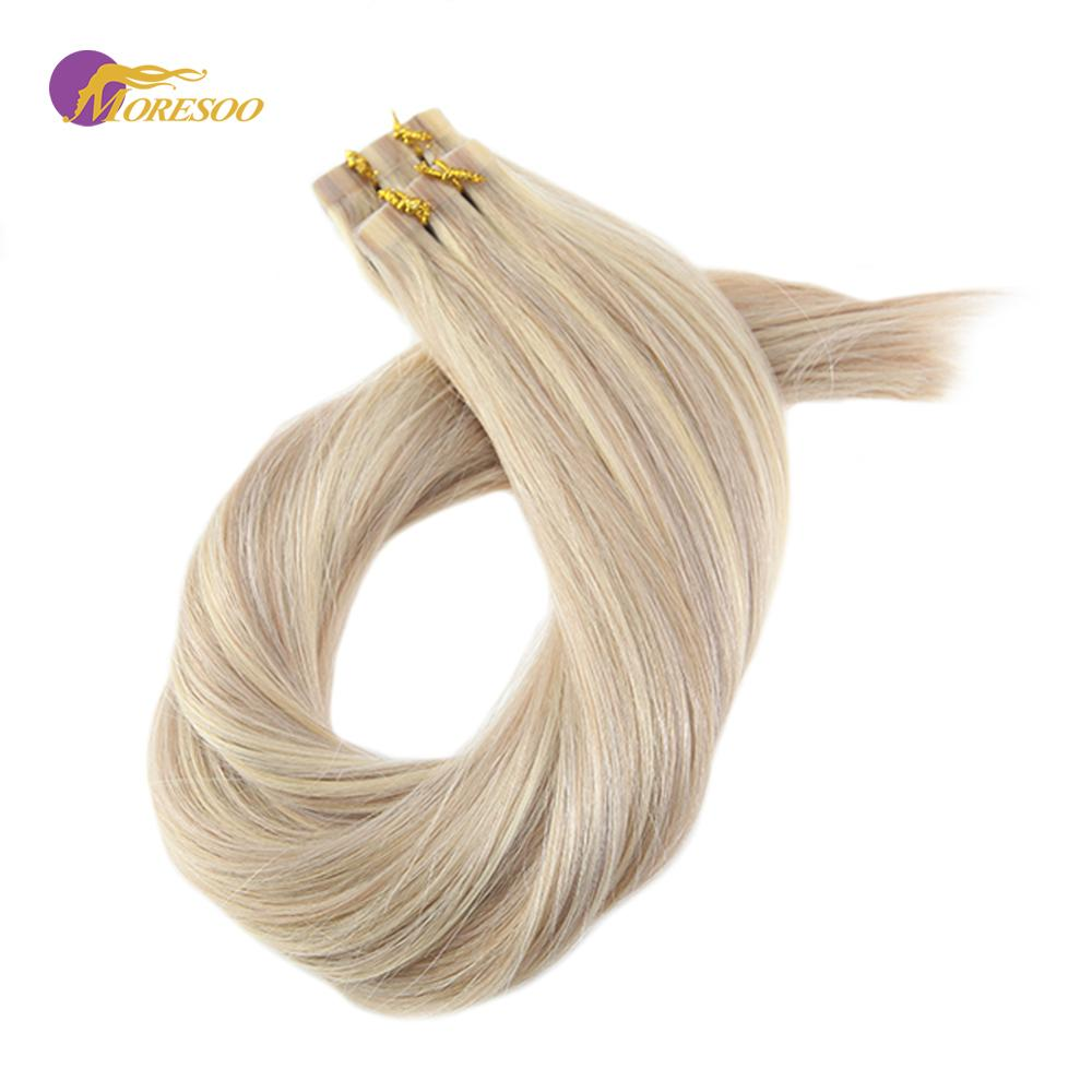 Moresoo 14-24 Inch Tape In Hair Extensions Highlight Two-Tone Colored Skin Weft Hair Glue On Hair Extensions 2.5g/pcs 25g-100g