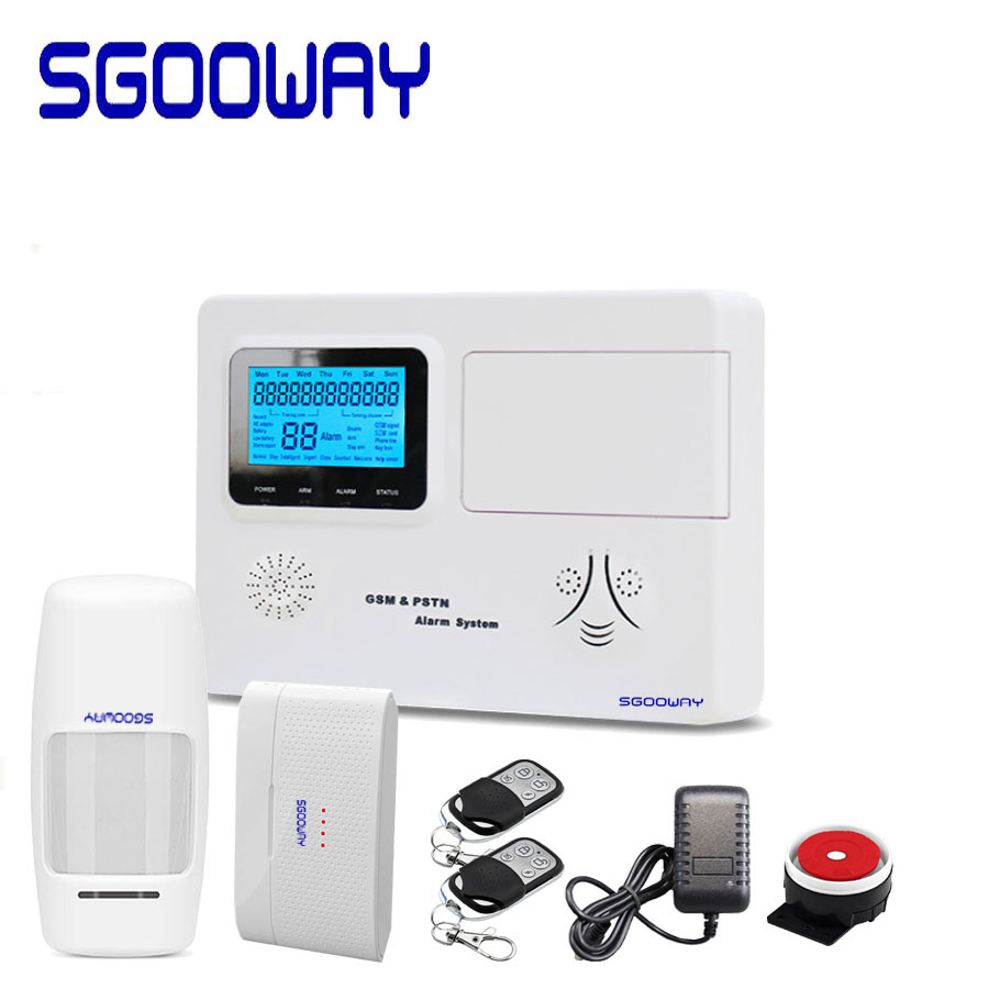 sgooway lcd venda quente gsm sms de seguranca sem fio em casa sistema de alarme pstn