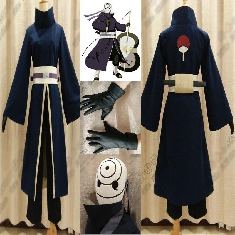 Costume d'anime de haute qualité Akatsuki Ninja Tobi Obito Madara Uchiha Obito Cosplay Costume complet avec casque