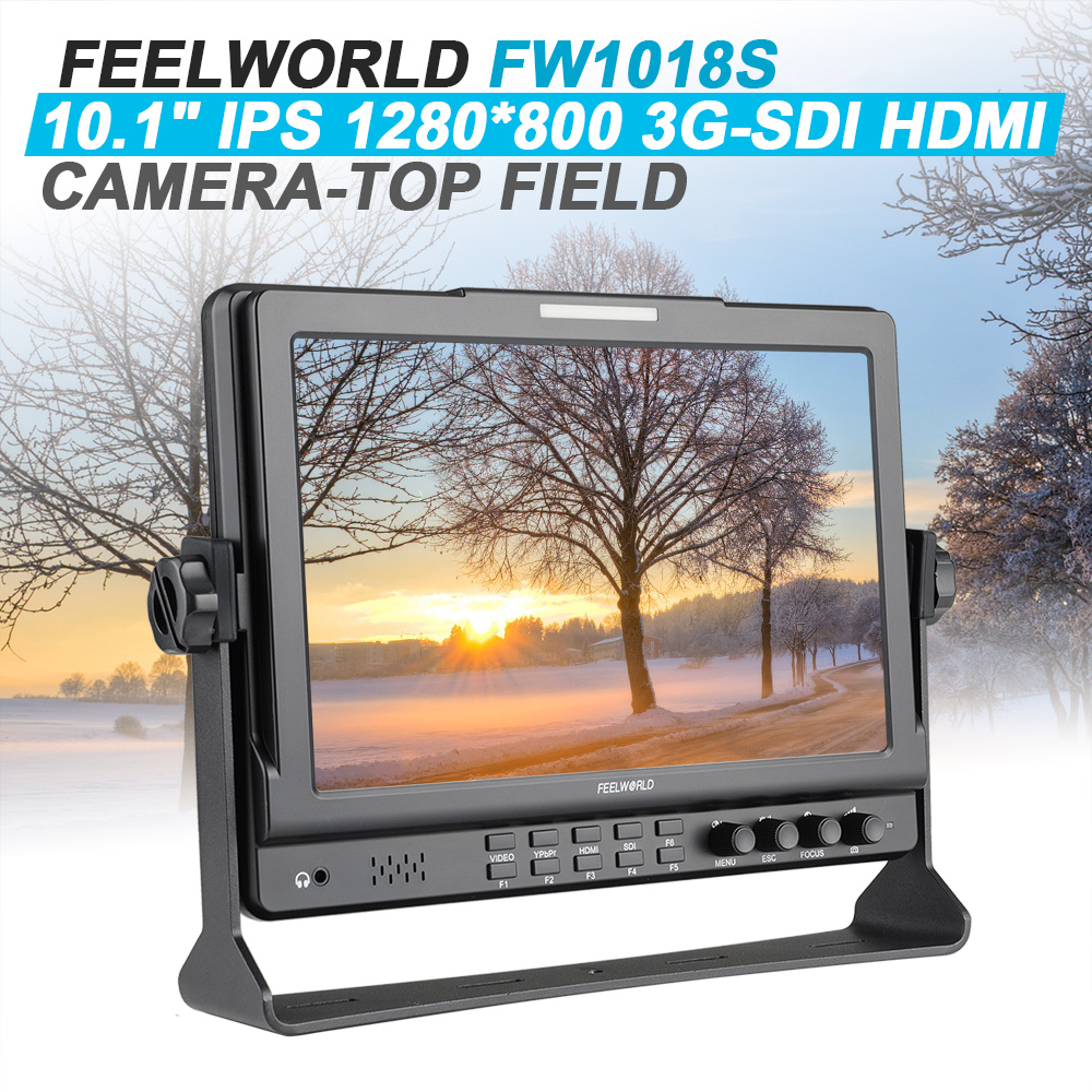 Original Feelworld FW1018S SDI 10.1 IPS DSLR Camera Monitor 1280*800 3G-SDI HDMI Camera-Top Field Monitor P0025551 new aputure vs 5 7 inch 1920 1200 hd sdi hdmi pro camera field monitor with rgb waveform vectorscope histogram zebra false color