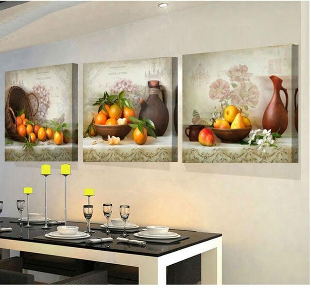 3 Panneau Impression Peinture Pour Cuisine Fruits Mur Décor Moderne Toile  Art Mur Photo Pour Salon