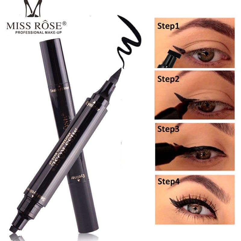 MISS ROSE Professional Double end Waterproof Eyeliner Stamp Pencils Smooth Pigments Long Lasting Black Brand Eye