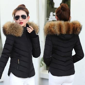 2019 New Winter Coat Women Winter Jacket Womens Parkas Gloves warm detachable fur collar detachable hat Slim fit Outwear 1