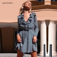 Yinlinhe mulheres listrado vestido v rendas pescoço para cima vestido de manga longa outono elasticidade finas senhoras da cintura ruffles Vestido 557