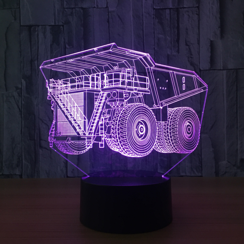 Super Truck 7 Colors Lamp 3D Visual Led Night Lights For Kids Touch Usb Table Lampara Lamp Baby Sleeping Nightlight Motion Lamp