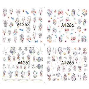 Image 2 - 12 wzorów Dream Cather Nail naklejka artystyczna woda kalkomanie transferowe Nail tatuaże zestawy żel polski DIY Charm Manicure folie A1261 1272