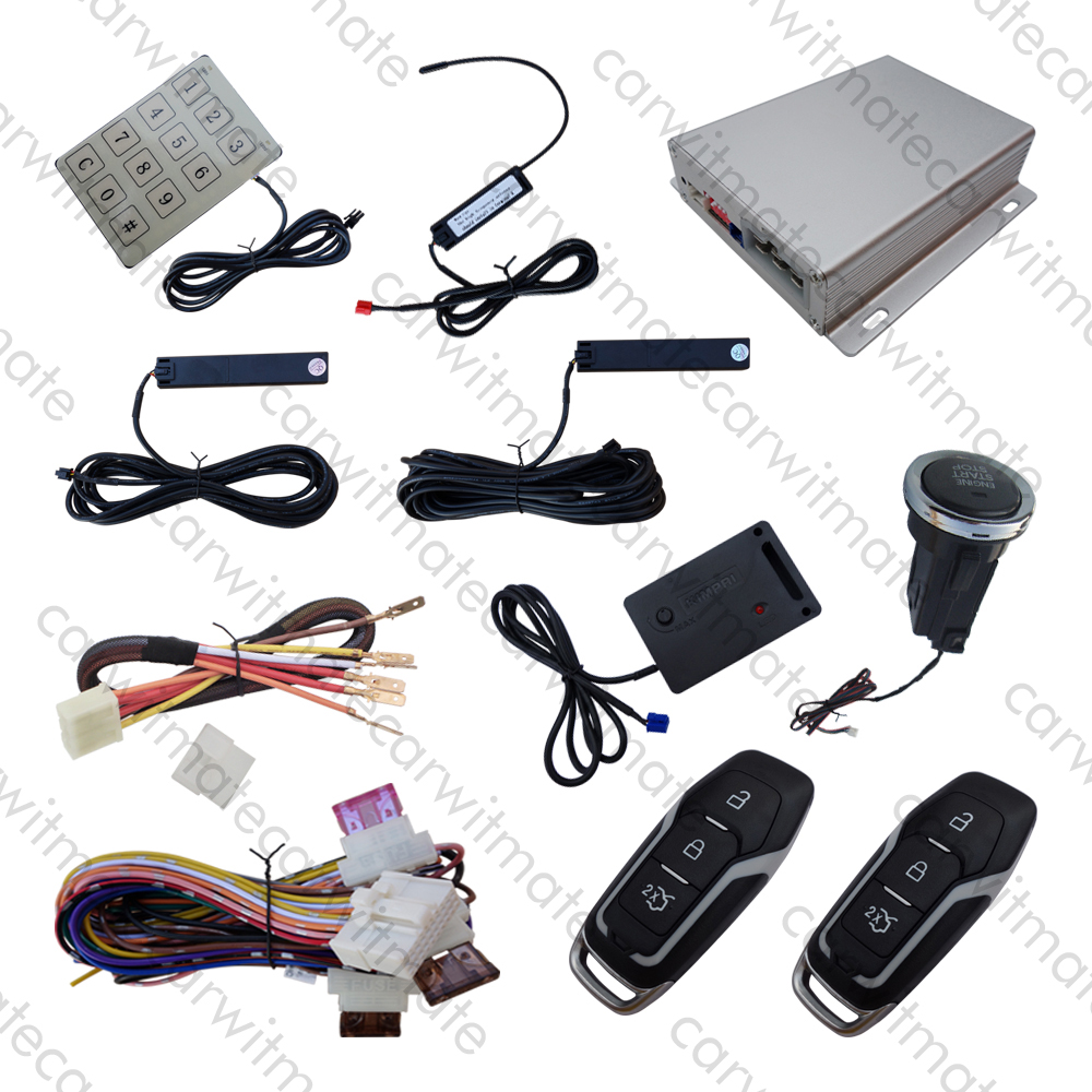 Hopping Code Car PKE Security Alarm System Long Push Button With Shock Sensor Remote Engine Start Stop Passive Keyless Entry kowell hopping code pke car alarm system w passive keyless entry remote engine start stop push button power ignition switch