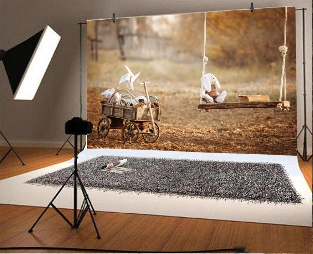 Laeacco bébé poupées balançoire chariot jouets livre enfant Portrait extérieur scénique arrière-plans photographiques Photo arrière-plans Photo Studio