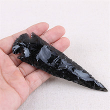 1PC DIY 10cm jewelry natural obsidian arrow original stone pendant male Female personality black meteorite