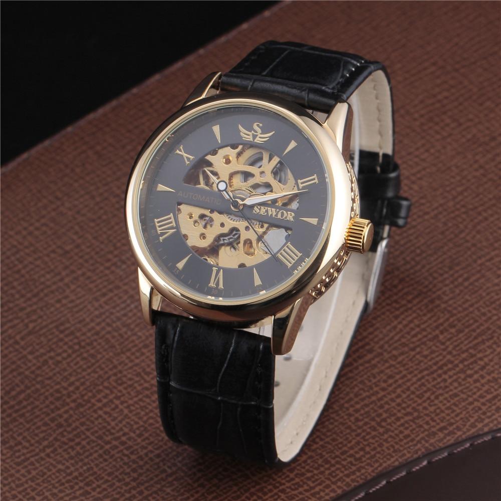 SEWOR Skeleton Mechanical Watch Былғары Relogio Masculinos - Ерлердің сағаттары - фото 2