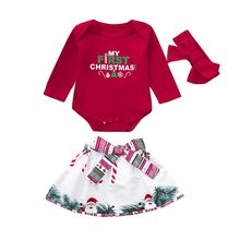 MUQGEW fashionals rompers baby Newborn Baby Girls Christmas Letter Print Romper+Bow skirt+Headbands Set Clothes #5-6(China)