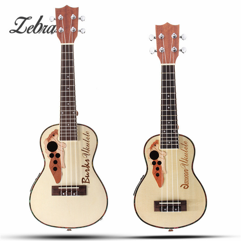 Zebra 21'' 23'' 4 Strings Concert Ukulele with Built-in EQ Pickup Acoustic Electric Bass Guitarra Guitar for Musical Instruments tenor concert acoustic electric ukulele 23 26 inch travel guitar 4 strings guitarra wood mahogany plug in music instrument