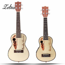 "Zebra 21"" 23"" 4 Strings Concert Ukulele with Built-in EQ Pickup Acoustic Electric Bass Guitarra Guitar for Musical Instruments"