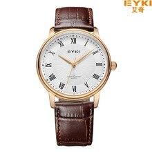 EYKI marca 30 M Impermeable Correa De Cuero Par de Relojes Escala Romana Con Marea de La Moda de Diamantes Relojes de Cuarzo Reloj de 1008