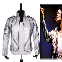 Rare PUNK Rock Motorcycle Casual Classic MJ MICHAEL JACKSON Silver Leather Costume Heal The World Jacket For Fans Best Gift