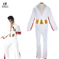 Free Shipping Classic Singer Cat King Elvis Presley Cosplay Costume White Halloween Costume For Men Adult