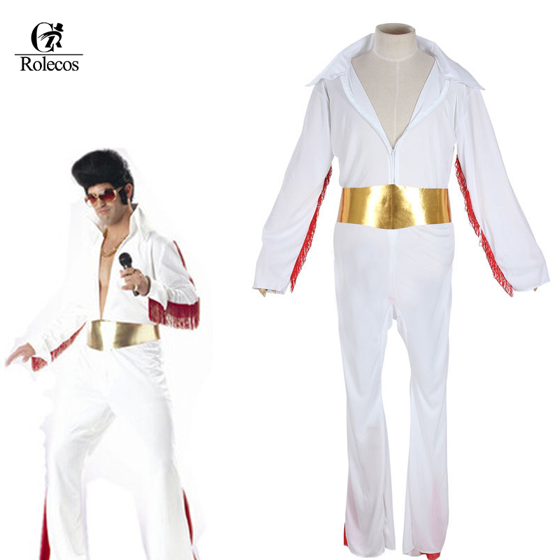 Classic Singer Cat King Elvis Presley Cosplay Costume White Halloween Costume for Men Adult