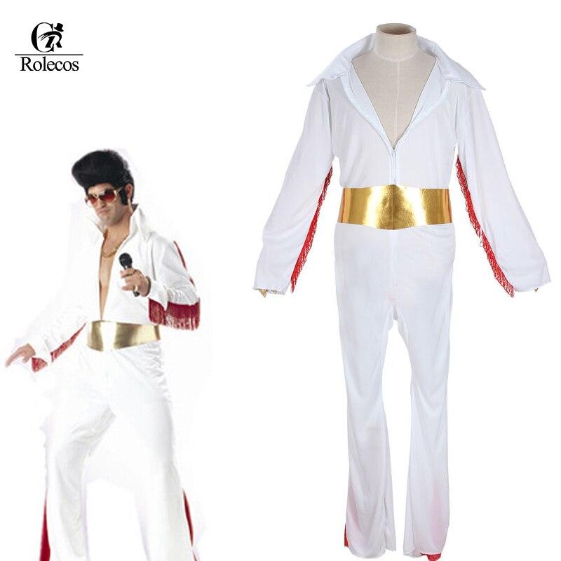 Classico Cantante Cat Re Elvis Presley Cosplay Costume Bianco Costume di Halloween per Gli Uomini Adulti