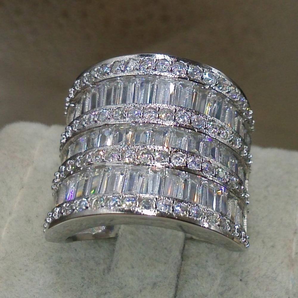 Choucong mode anneaux pour 2016 bijoux 925 en argent Sterling blanc AAA CZ simulé pierres de mariage princesse femmes anneau taille 5-11