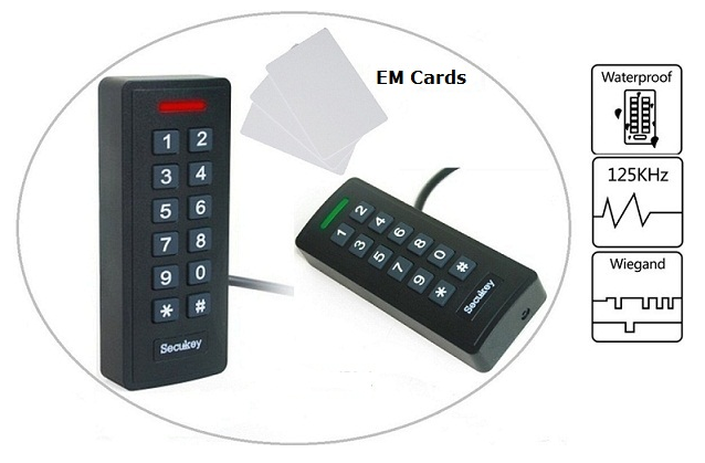 SK2-R EM IP66 Waterproof Access Control Proximity Card Reader Door Entry System 125KHz EM Numeric Keypad Pin Card Reader s6 r mf new arrival door entry system 13 56mhz ic card reader wiegand 26 37 bits output ip66 access control reader door opener