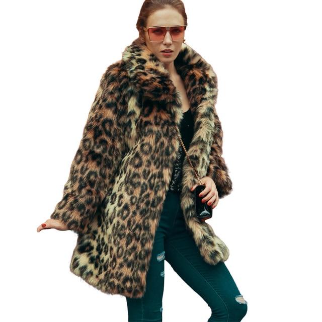 9d5c13b264 2019 Winter Faux Fur Coat Fashion Women Leopard Coat Long Sleeve Fake Fur  Coats Turn-Down Collar Trench Coat Warm Outwear Brown