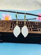 SHILOVEM 18k yellow gold real Natural white Jasper drop earring fine Jewelry women wedding gift new 10*16mm yze101688hy