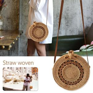 Image 1 - Rattan Storage Bag Handmade Bohemian Retro Style Home Woven Bag Hollow Twist Pattern Fashion Womens Pouch 2019