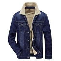 New Autumn Winter Mens Fashion Men Denim Jacket Eur Style Casual Fur Thick Jeans Blazer Plus